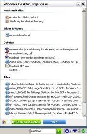 MSN Desktop Search mit Suchergebnissen