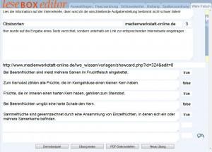 Editor der LeseBOX mit Beispielübung