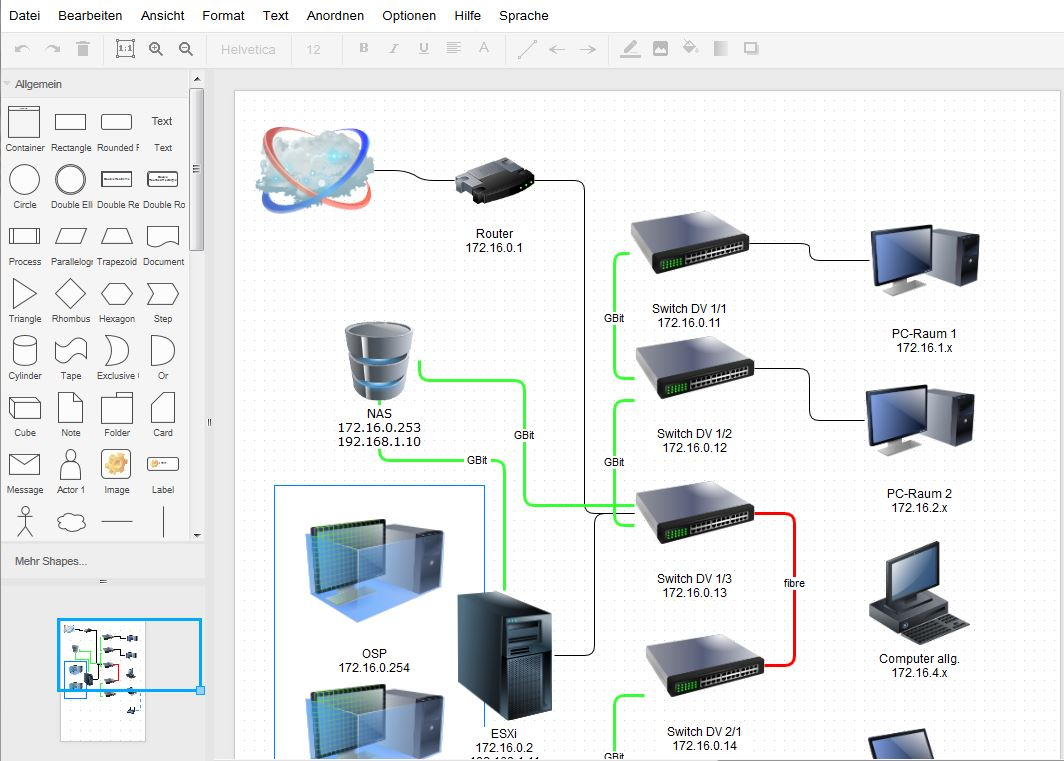 Screenshot Netzwerkdiagramm erstellt mit draw.io