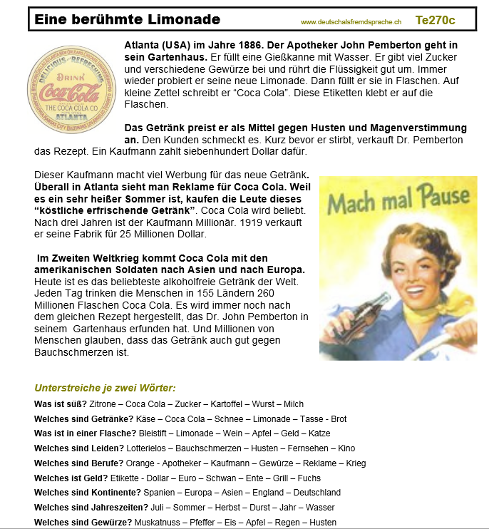 Deutsch als Fremdsprache Arbeitsblatt