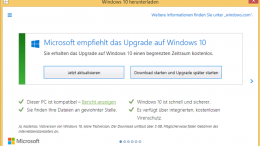 Windows 10 Upgrade Meldung