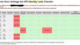 Antwort des Identity Leak Checker